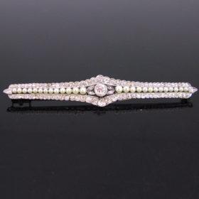 Edwardian Diamonds Pearls Platinum Brooch