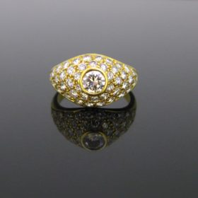 Vintage Diamonds Pave Bombe Dome Ring