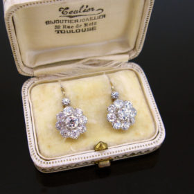 French Belle Epoque Diamonds Dormeuses