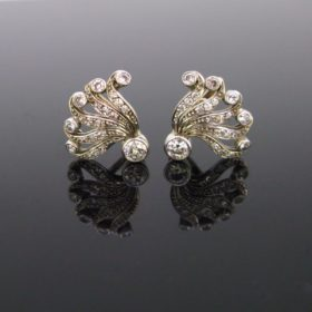 Victorian Style Diamonds Flower Earrings