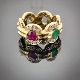 Multi Gems Halo Diamonds Gold Ring