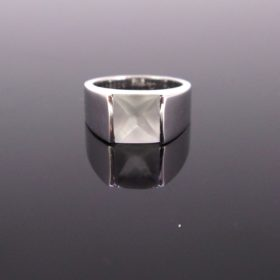 Cartier Moonstone White Gold Band Tank Ring