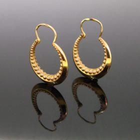 Vintage Beaded Gold Creoles Hoop Earrings
