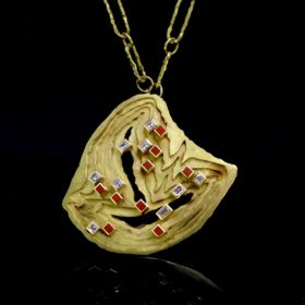 Modernist Layers Diamonds Pendant