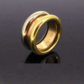 Poiray Three Gold Symbole Large Band Ring
