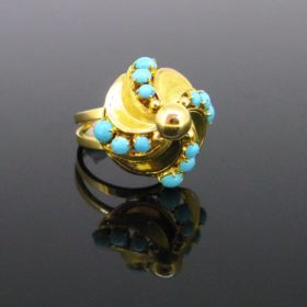 Vintage Turquoise & Cultured Pearl Screw Ring