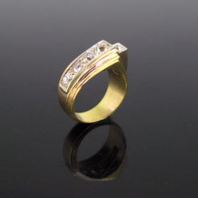 Retro Tank Diamonds Gold Platinum Ring