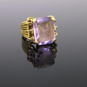 Family Crest Amethyst Intaglio Signet Ring