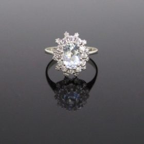 Vintage 1ct Aquamarine Diamonds Cluster Ring