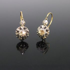 Early Victorian Diamonds Dormeuses Earrings