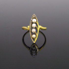Art Nouveau Pearls Plique a Jour Ring