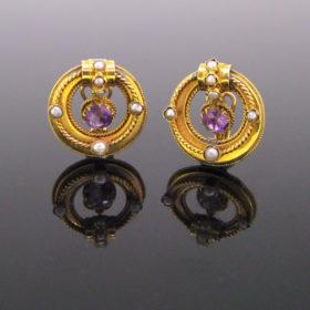 Victorian Amethysts Pearls Earrings Clips