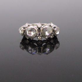 Retro Rose Cut Single Cut Diamonds Ring