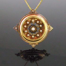 Antique Napoleon III Pearl Enamel Brooch Pendant