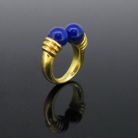 Vintage Lapis Lazuli Beads Gold Ring
