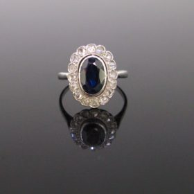 Sapphire Rose cut Diamonds Cluster Ring