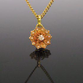 Victorian Diamond and Pearls Flower Pendant