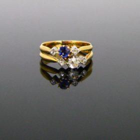 Antique Edwardian Sapphire & Diamond Ring