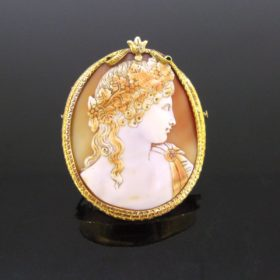Victorian Antinous Shell Cameo Pendant Brooch