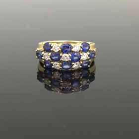 Sapphires and Diamond Yellow Gold Band Ring