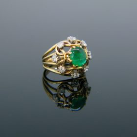 Retro Emerald Cabochon and Diamond Ring