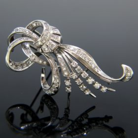 French Retro Diamonds Brooch