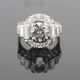 Art Deco 2.05ct Cut Diamond Cluster Ring