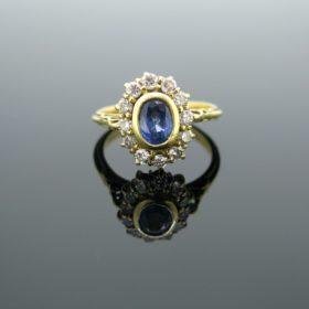 Vintage Sapphire Diamond Cluster Ring