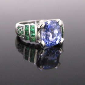 6.75ct Ceylon Sapphire and Emerald Ring