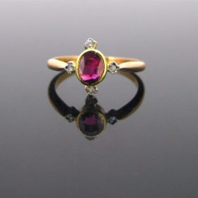 Edwardian Ruby Rose cut Diamonds Ring