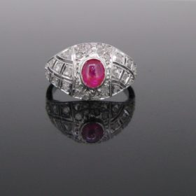 Belle Epoque Ruby Cabochon Diamonds Ring