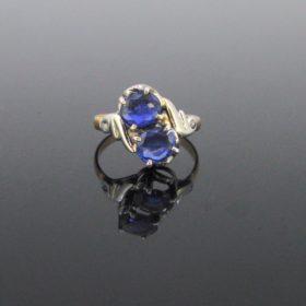 Art Nouveau Toi et Moi Sapphires Diamonds Ring