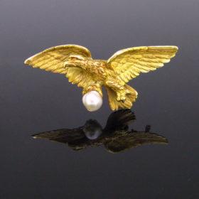 Art nouveau Eagle Pearl Brooch Pendant