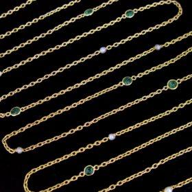 Naturals Pearls Emeralds Long Guard Chain