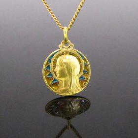 Art Nouveau Plique a Jour Religious Medal