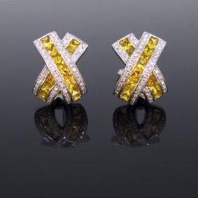 Yellow Sapphires Diamonds Gold Earrings