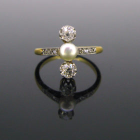 Antique Edwardian Pearl and Diamonds Ring