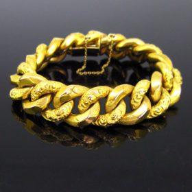 Swiss Chunky Curb Links Gold Bracelet