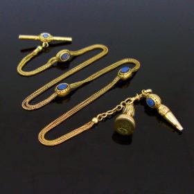 Victorian Agate Slide Pocket Watch Chain