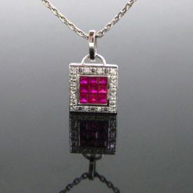 Pave Mystery Set Ruby Diamonds Necklace