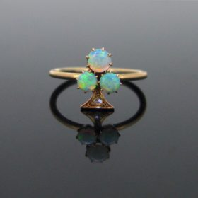 Victorian Shamrock Opals Diamonds Ring