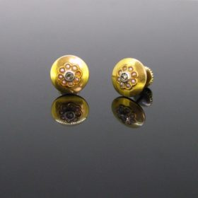 Edwardian Rose cut Diamonds Pearls Studs