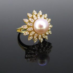 South Sea Pearl Diamonds Cluster Ring