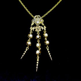 Antique Victorian Diamonds Pearl Pendant