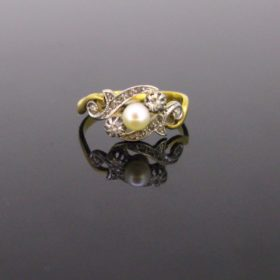 Edwardian Pearl and rose cut Diamonds Ring