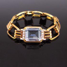 Retro Aquamarine Diamonds Bracelet