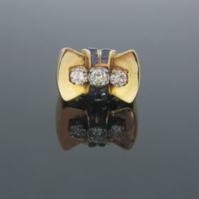 Retro Diamond and Synthetic Sapphire Ring