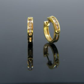 French Diamonds Gold Hoops Earrings