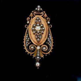 Antique Victorian Pearl Brooch Pendant