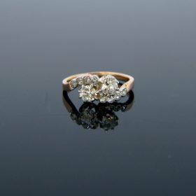 Toi et Moi Crossover Old Mine Diamonds Ring